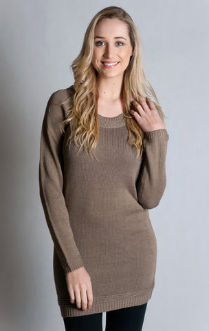 Long Round Neck Jumper- TAUPE