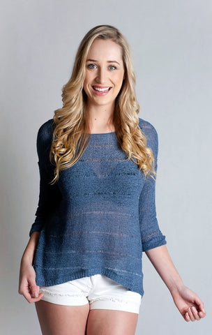 3/4 Sleeve Boat, Neck, Loose Knitted Top- Indigo