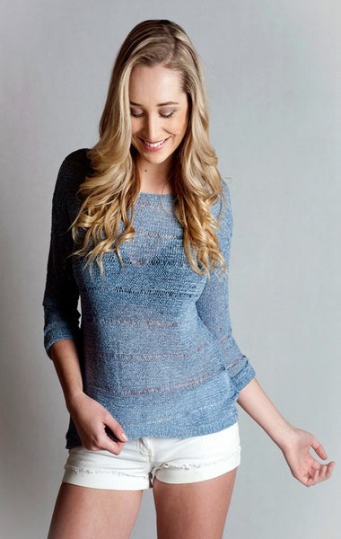 Long Sleeve Boat Neck Knitted Loose Top- Blue Mel