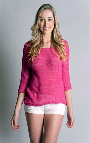 3/4 Sleeve, Boat Neck, Loose Knitted, Top - Fuschia