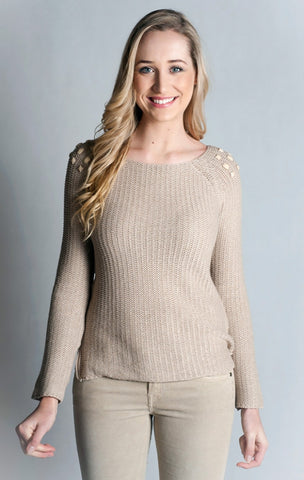 Long Sleeve Round Neck Sweater with Stones. 100% Cotton.- BEIGE
