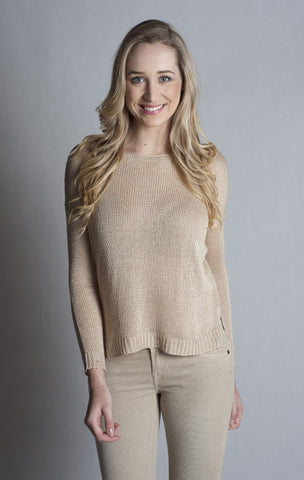 Long Sleeve Boat Neck Sweater- STONE