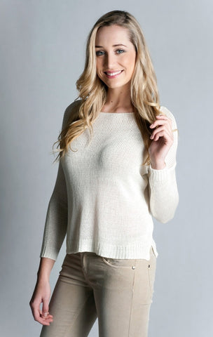 Long Sleeve Boat Neck Sweater- ECRU