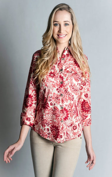 Cotton 97%, Spandex 3 %,Cardinal Red, Printed Shirt- 3/4 sleeve, fitted at back.