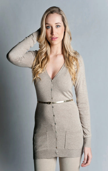 Classic Two Pocket Longer Cardigan- Beige