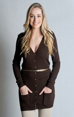 Classic Two Pocket Longer Cardigan- Chocolate