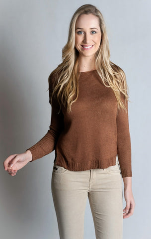 Long Sleeve Boat Neck Sweater-TAN