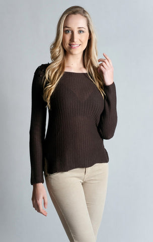 Long Sleeve Round Neck Sweater with Stones. 100% Cotton.- BROWN
