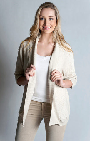 Knitwear-Dolman Sleeve Open Front Ribbed Cardigan-100% Cotton
