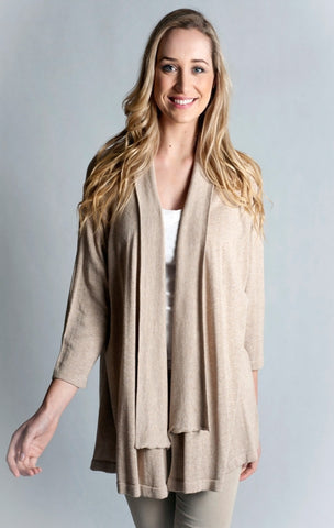 Knitwear-Dolman sleeve, edge to edge Cardigan - Cotton - Only 3XL & 4XL left