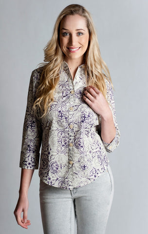 97% Cotton / 3% Spandex, Purple Printed Shirt- 3/4 sleeve, fitted at back.