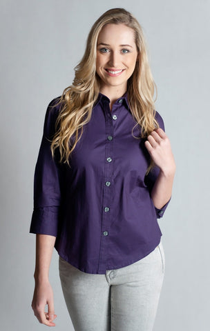 97% Cotton / 3% Spandex, Purple Shirt- 3/4 sleeve, fitted at back.