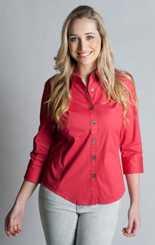 97% Cotton / 3% Spandex, Cardinal Red  Shirt- 3/4 sleeve, fitted at back.