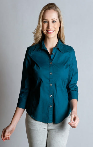 97% Cotton / 3% Spandex, Blue  Shirt- 3/4 sleeve, fitted at back.