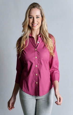 97% Cotton / 3% Spandex, Berry Shirt- 3/4 sleeve, fitted at back.