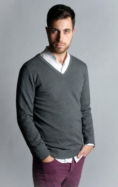 Long Sleeve, Dark Grey, V Neck Sweater with Elbow Patch