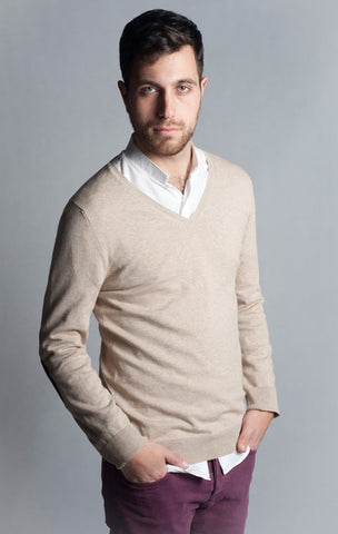 Long Sleeve, Beige, V Neck Sweater with Elbow Patch