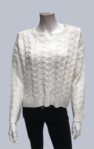 #Crop ,Cable, Box Jumper - White