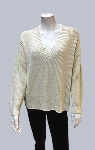 Box V Neck Jumper - Ecru