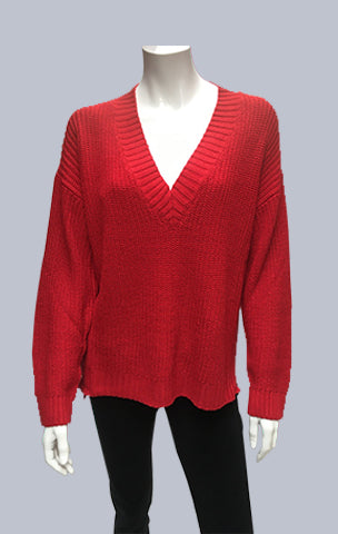 Box V Neck Jumper- Red