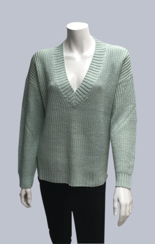 Box V neck jumper - Sage