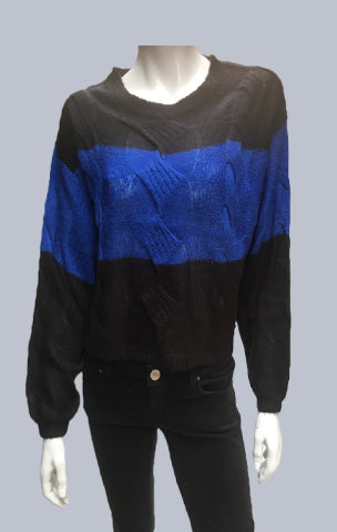 #Crop ,Cable, Mohair like jumper Black/Royal blue Stripe.