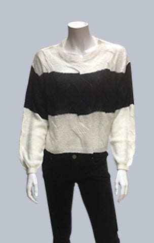 # Crop, cable, mohair like Jumper - Ecru/Navy Stripe