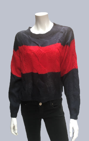 #Crop, Cable, Mohair-like Jumper Navy/Red Stripe