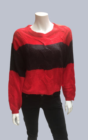 #Crop, Cable, Mohair-like jumper Red/Black Stripe