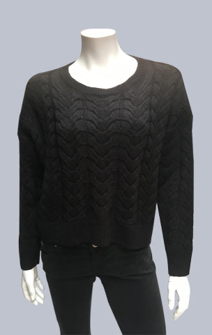 #Crop, Cable, Box jumper - Black