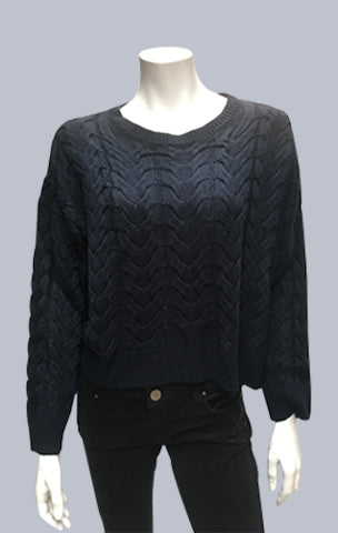 #Crop, Cable, Box jumper - Dark Navy