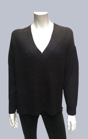 Box V Neck Jumper - Black