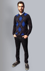 #Mensfashion #Argyle,Jumper, Navy with  Green and Bluey Grey Diamonds. 100% Cotton.