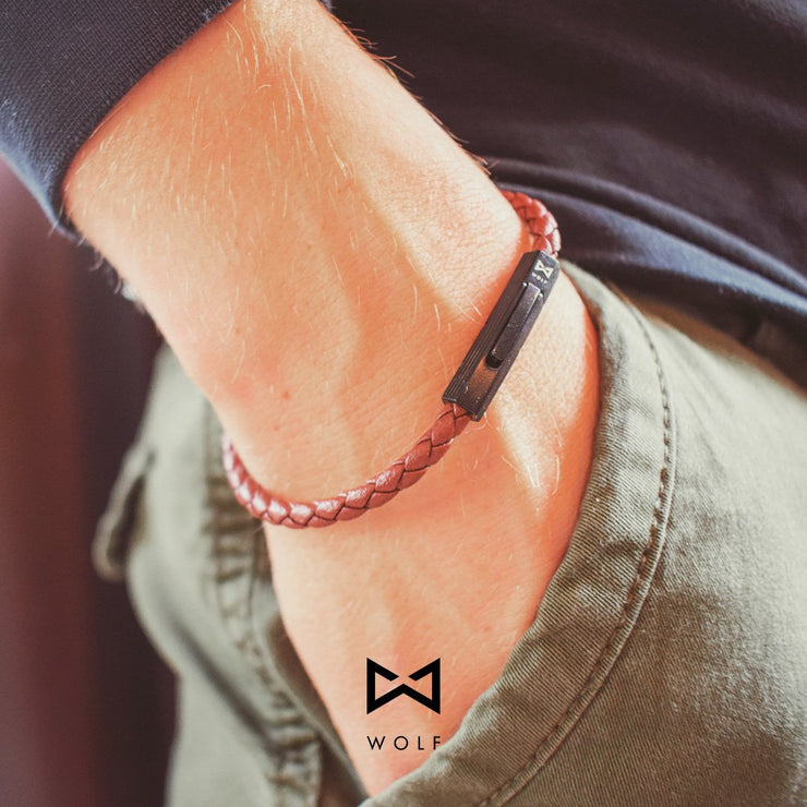 WOLF Men's Leather Bracelet (brown) - Wolf Clothing Brand