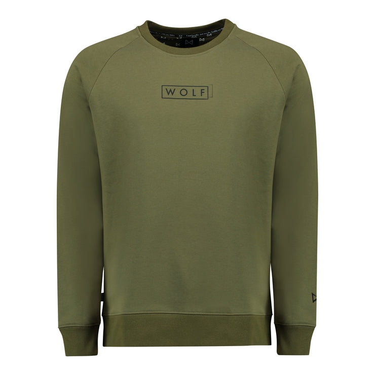 WOLF Sweater Boxed Logo (khaki) - Wolf Clothing Brand
