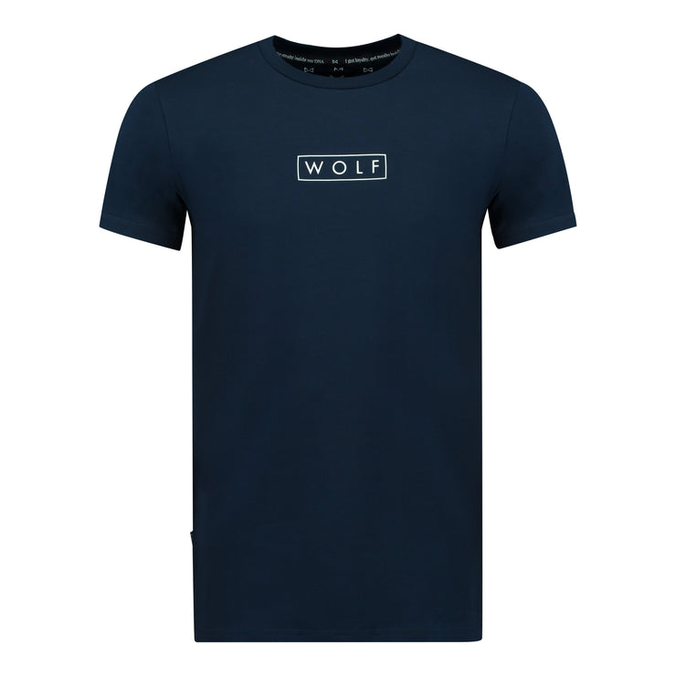 WOLF T-Shirt Boxed Logo (navy) - Wolf Clothing Brand