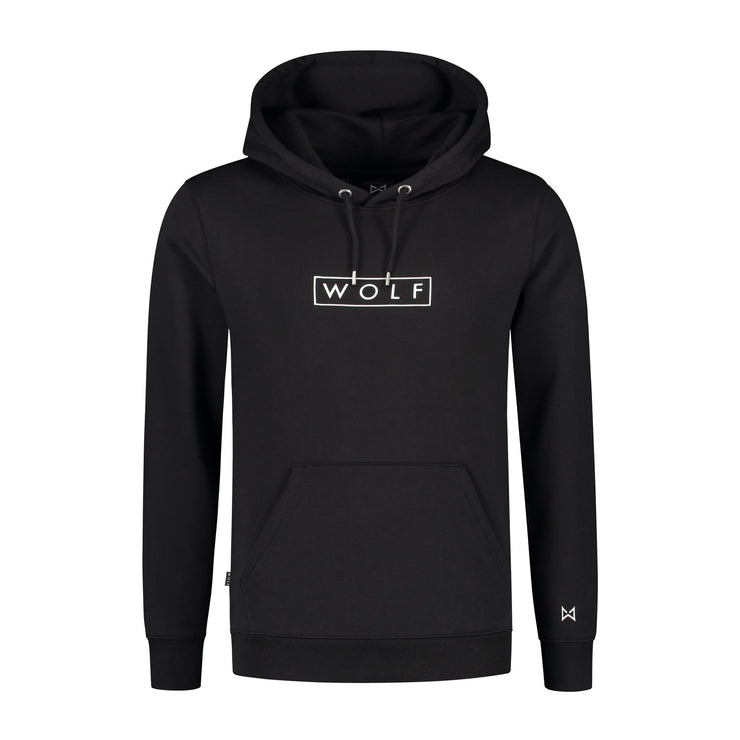 WOLF Hoodie Boxed Logo (black) - Wolf Clothing Brand