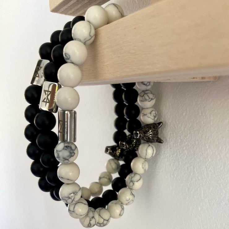 WOLF Men's Bracelet Set (marble)-Wolf Clothing Brand