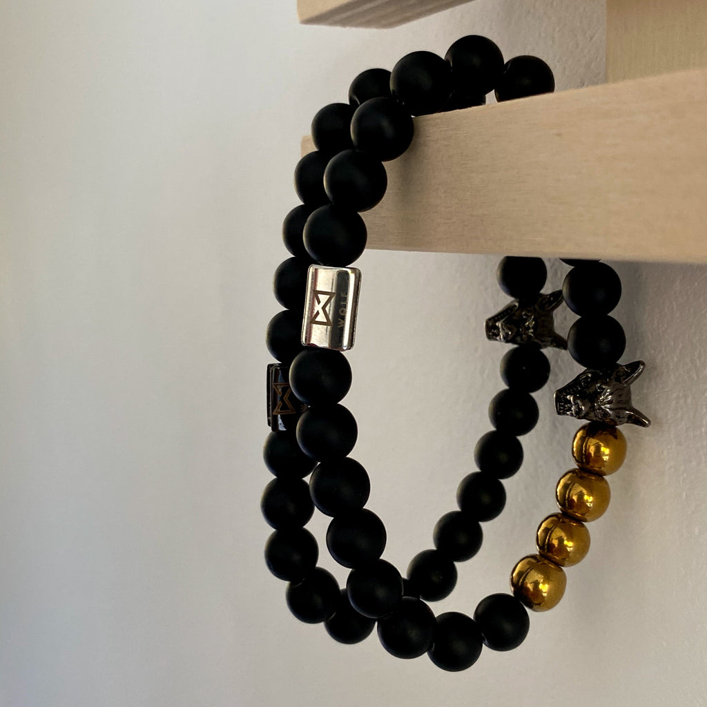 Wolf Bracelet Set (black & gold) - Wolf Clothing Brand