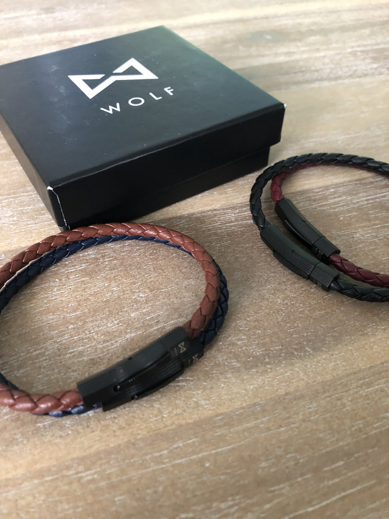 Bracelet leather (black)-Wolf Clothing Brand