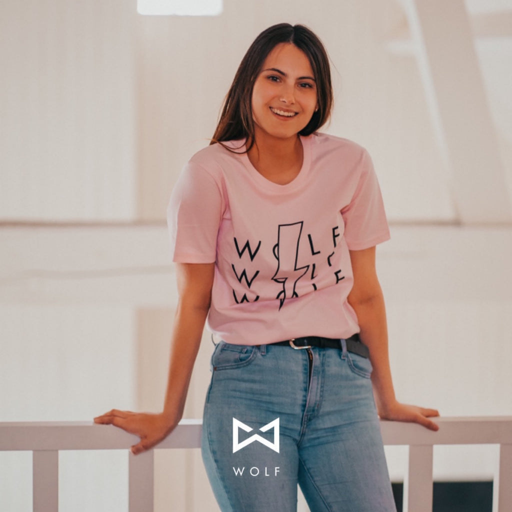 Lighting Bolt T (heather pink) - Wolf Clothing Brand