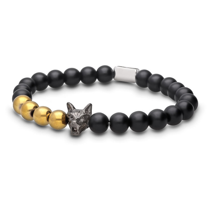 WOLF Men's Bracelet Set (black & gold) - Wolf Clothing Brand