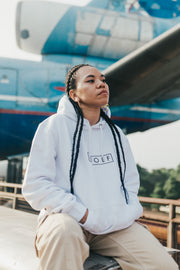 WOLF Hoodie Boxed Logo (white) - Wolf Clothing Brand