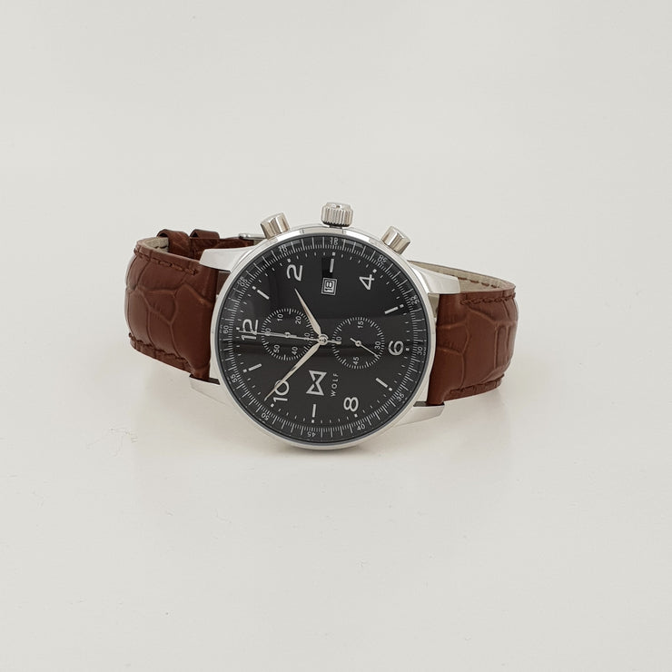 WOLF Watch Cool Silver (brown strap) - Wolf Clothing Brand