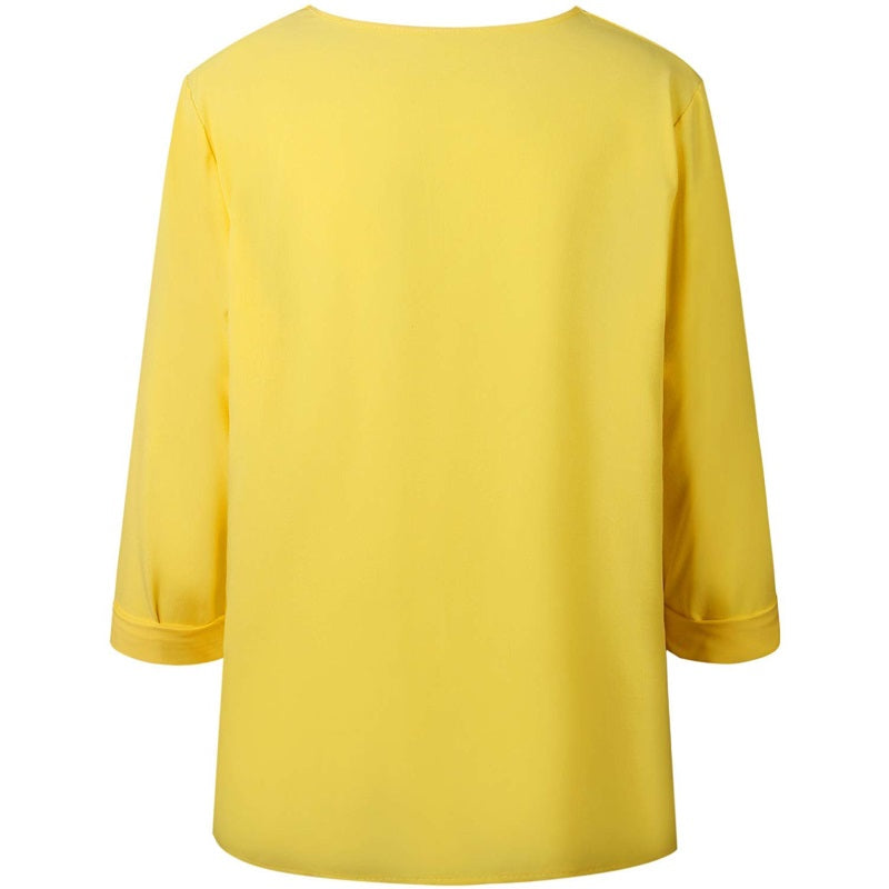 KIMIKO Casual Long Sleeve Chiffon Blouse yellow