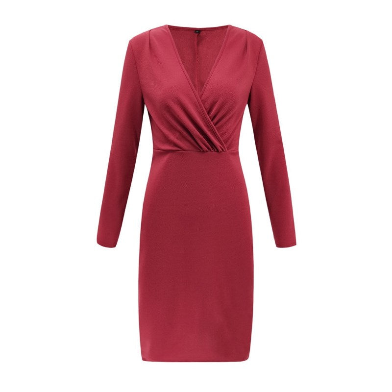 ELIZABETH Deep V-Neck Long Sleeve Bodycon Party Dress red