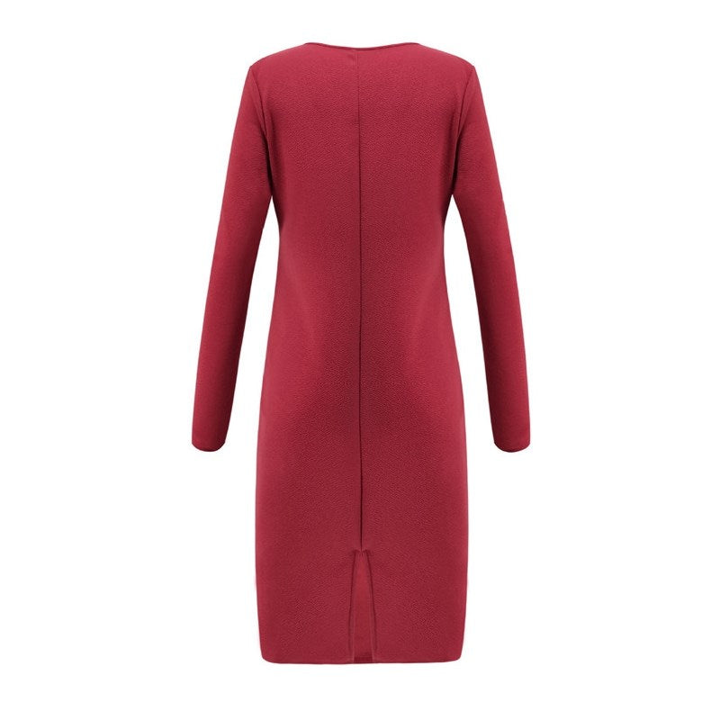ELIZABETH Deep V-Neck Long Sleeve Bodycon Party Dress red back