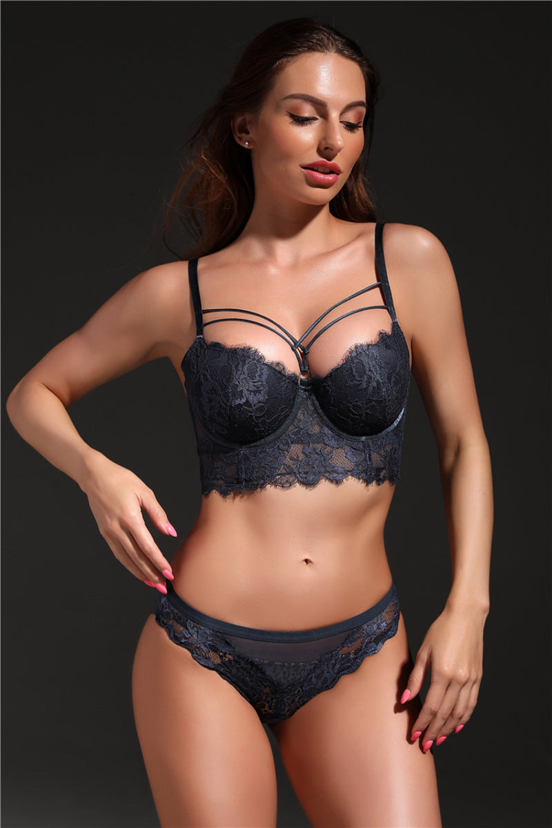 RoyalChoice Lingerie Lace Push-Up Bra and Lace Panty Set Black