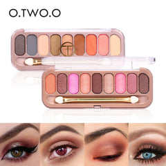 O.TWO.O® 9 Colors Eye-shadow Palette With Brush - royalchoice-lashes.myshopify.com