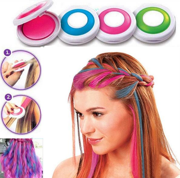 Temporary Fun Colored Hair Powder Works on All Hair Colors - Shampoos Out Easily